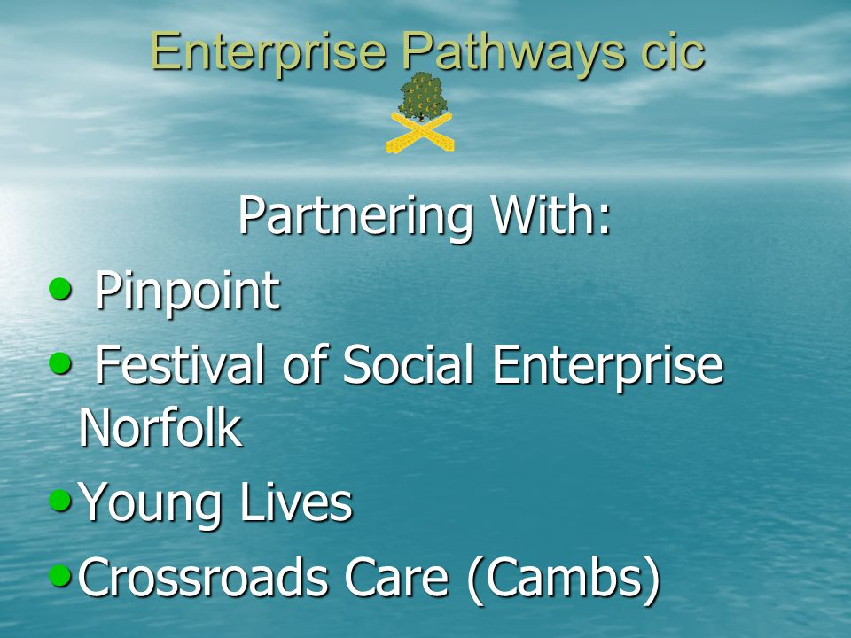 Enterprise Pathways cic Partnering With: Pinpoint Pinpoint Festival of Social Enterprise Norfolk Festival of Social Enterprise Norfolk Young Lives Young Lives Crossroads Care (Cambs) Crossroads Care (Cambs)