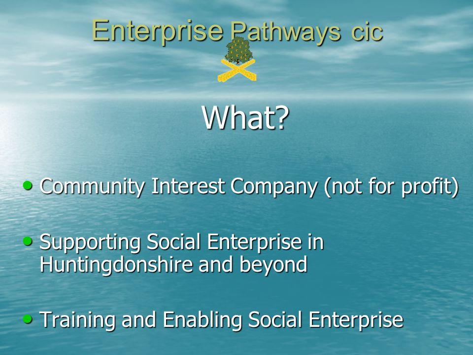 Enterprise Pathways cic What? Community Interest Company (not for profit) Community Interest Company (not for profit) Supporting Social Enterprise in