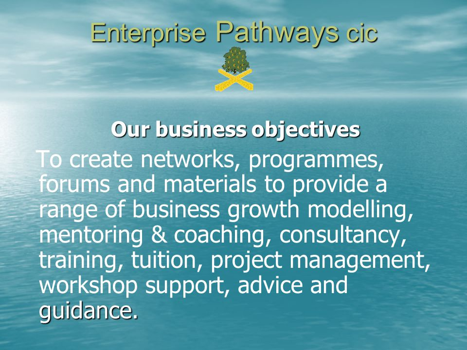 Enterprise Pathways cic Our business objectives guidance.
