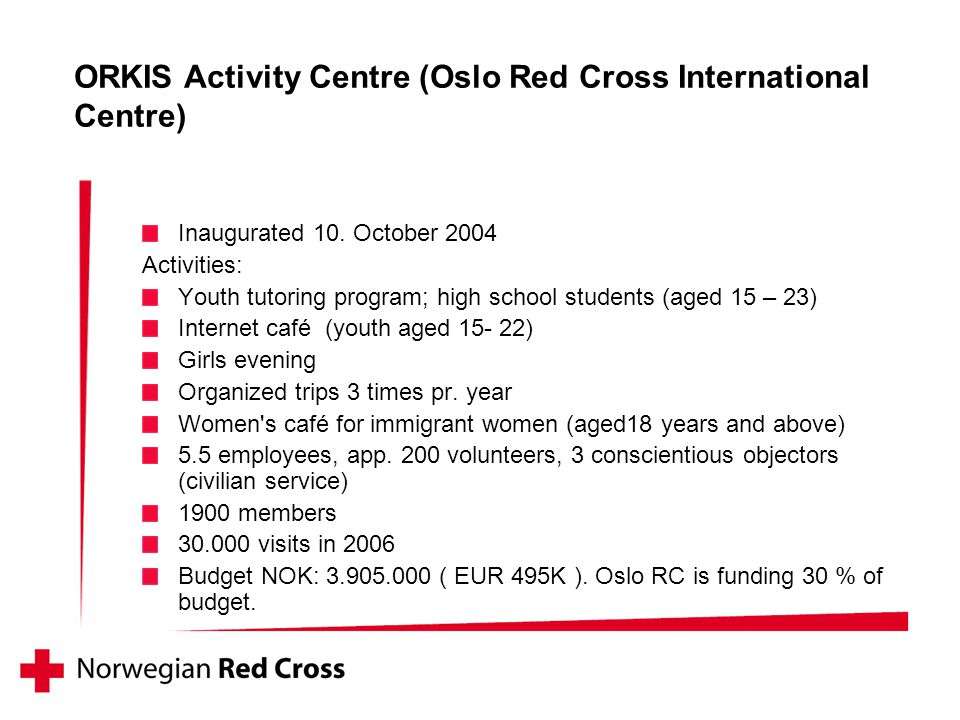 ORKIS Activity Centre (Oslo Red Cross International Centre) Inaugurated 10.