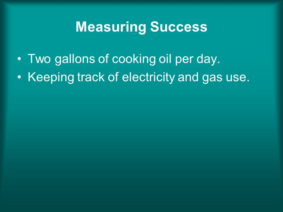 Measuring Success Two gallons of cooking oil per day. Keeping track of electricity and gas use.