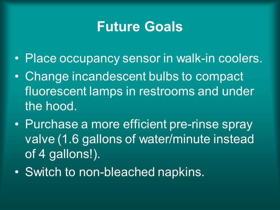 Future Goals Place occupancy sensor in walk-in coolers. Change incandescent bulbs to compact fluorescent lamps in restrooms and under the hood. Purcha