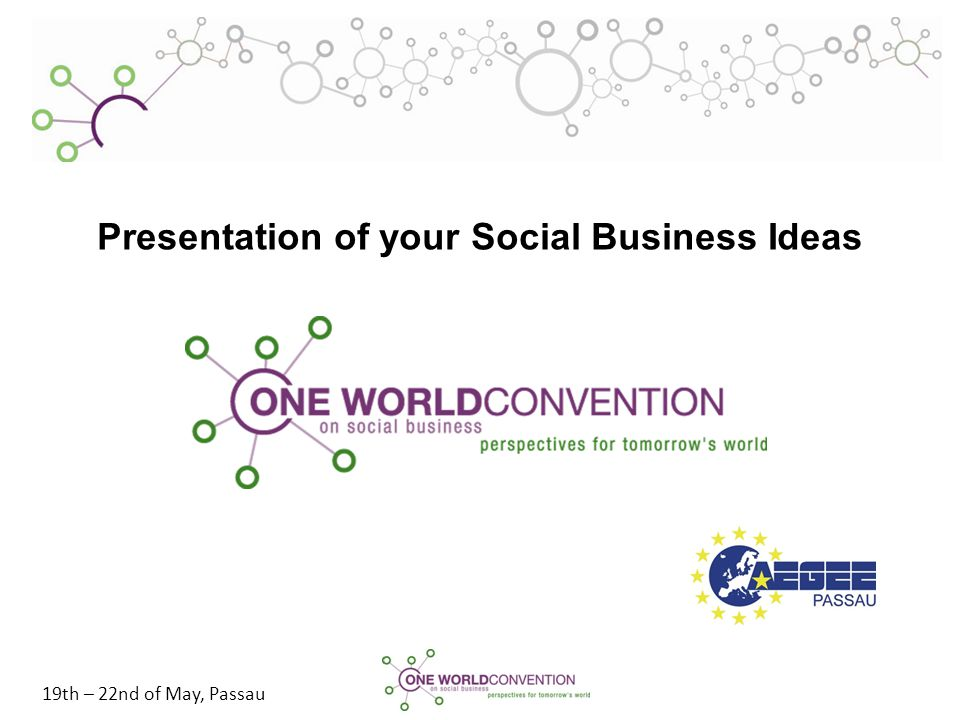 19th – 22nd of May, Passau Presentation of your Social Business Ideas