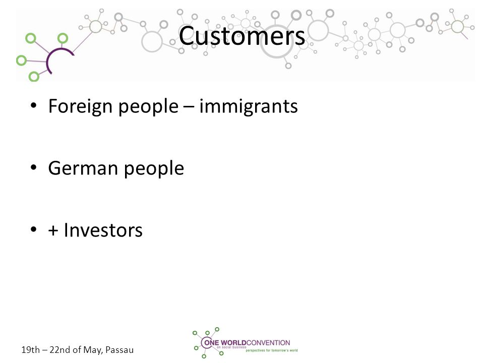 19th – 22nd of May, Passau Customers Foreign people – immigrants German people + Investors