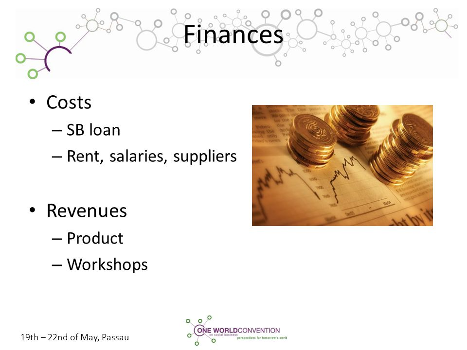 19th – 22nd of May, Passau Finances Costs – SB loan – Rent, salaries, suppliers Revenues – Product – Workshops