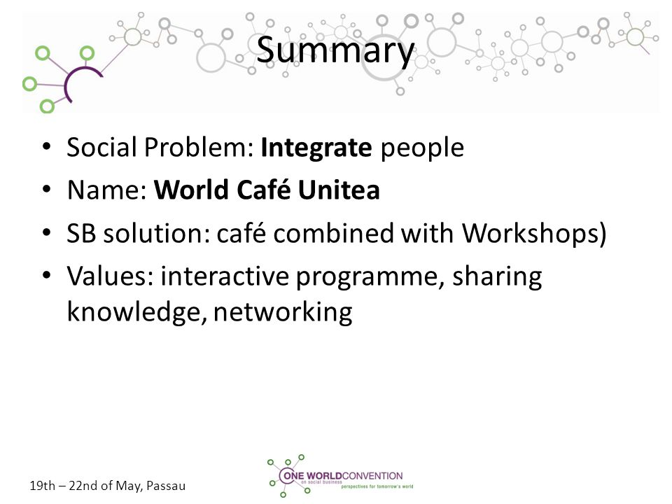 19th – 22nd of May, Passau Summary Social Problem: Integrate people Name: World Café Unitea SB solution: café combined with Workshops) Values: interac