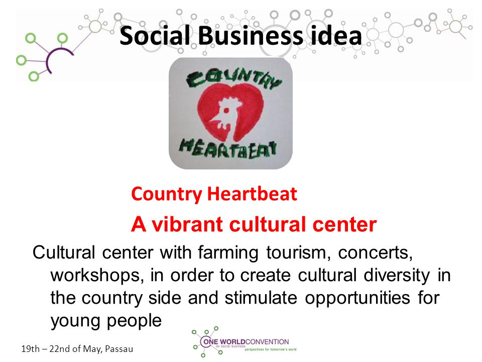 19th – 22nd of May, Passau Social Business idea Cultural center with farming tourism, concerts, workshops, in order to create cultural diversity in th