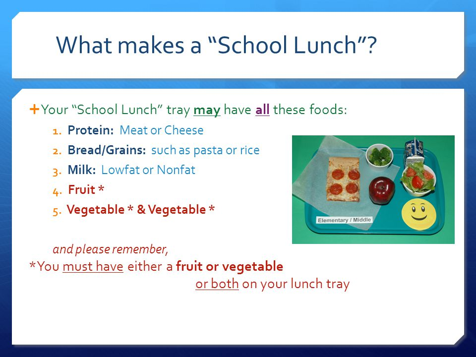 Your School Lunch tray may have all these foods: 1.