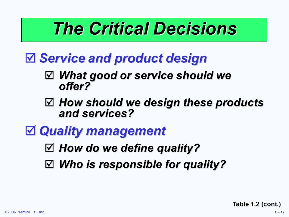© 2006 Prentice Hall, Inc.1 – 17 The Critical Decisions Service and product design Service and product design What good or service should we offer.