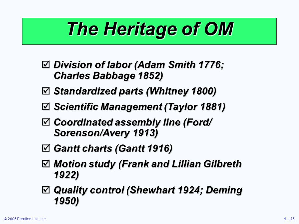 © 2006 Prentice Hall, Inc.1 – 25 The Heritage of OM Division of labor (Adam Smith 1776; Charles Babbage 1852) Division of labor (Adam Smith 1776; Charles Babbage 1852) Standardized parts (Whitney 1800) Standardized parts (Whitney 1800) Scientific Management (Taylor 1881) Scientific Management (Taylor 1881) Coordinated assembly line (Ford/ Sorenson/Avery 1913) Coordinated assembly line (Ford/ Sorenson/Avery 1913) Gantt charts (Gantt 1916) Gantt charts (Gantt 1916) Motion study (Frank and Lillian Gilbreth 1922) Motion study (Frank and Lillian Gilbreth 1922) Quality control (Shewhart 1924; Deming 1950) Quality control (Shewhart 1924; Deming 1950)