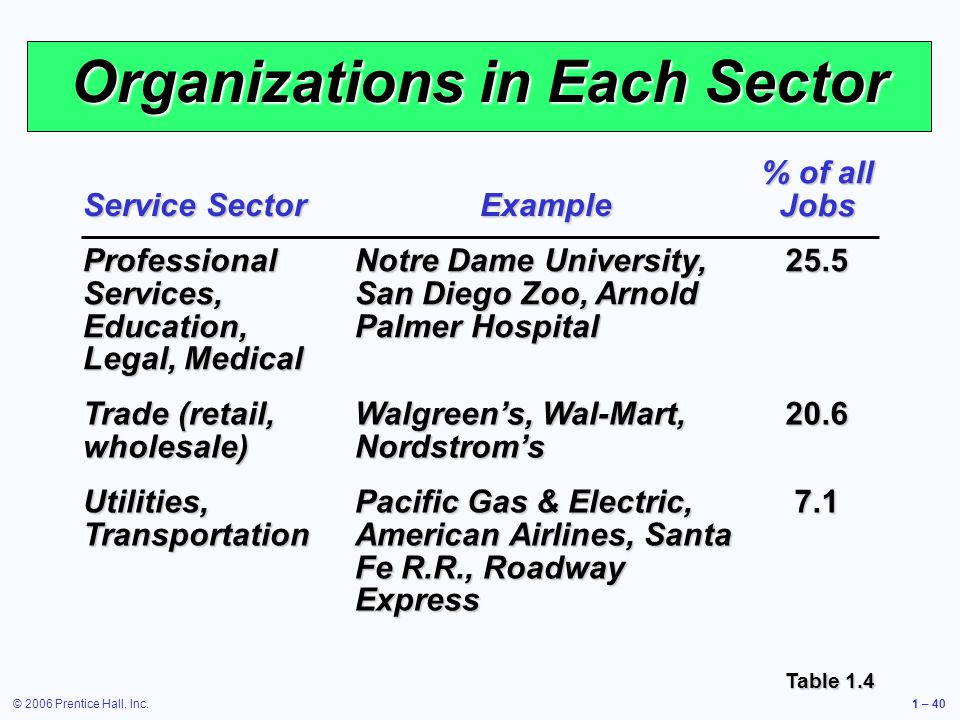 © 2006 Prentice Hall, Inc.1 – 40 Organizations in Each Sector Service Sector Example % of all Jobs Professional Services, Education, Legal, Medical Notre Dame University, San Diego Zoo, Arnold Palmer Hospital 25.5 Trade (retail, wholesale) Walgreens, Wal-Mart, Nordstroms 20.6 Utilities, Transportation Pacific Gas & Electric, American Airlines, Santa Fe R.R., Roadway Express 7.1 Table 1.4