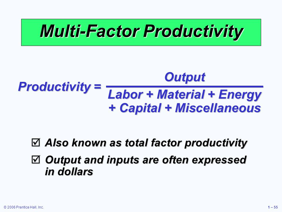 © 2006 Prentice Hall, Inc.1 – 55 Multi-Factor Productivity Output Labor + Material + Energy + Capital + Miscellaneous Productivity = Also known as total factor productivity Also known as total factor productivity Output and inputs are often expressed in dollars Output and inputs are often expressed in dollars