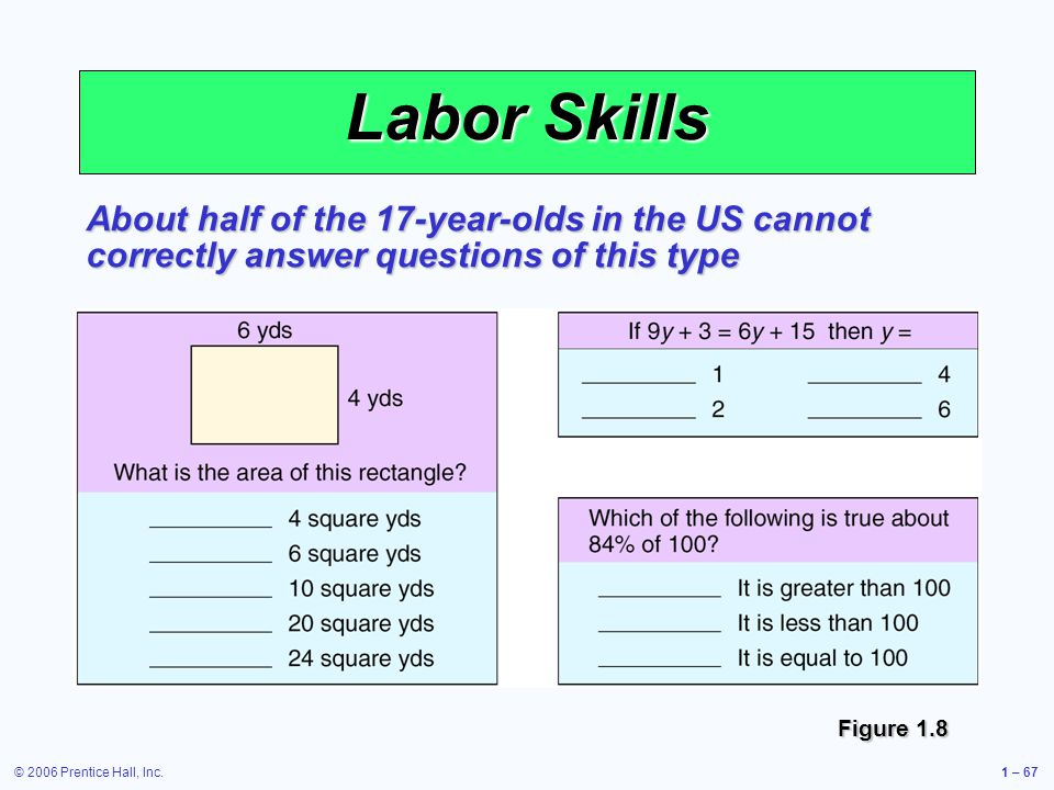 © 2006 Prentice Hall, Inc.1 – 67 Labor Skills About half of the 17-year-olds in the US cannot correctly answer questions of this type Figure 1.8