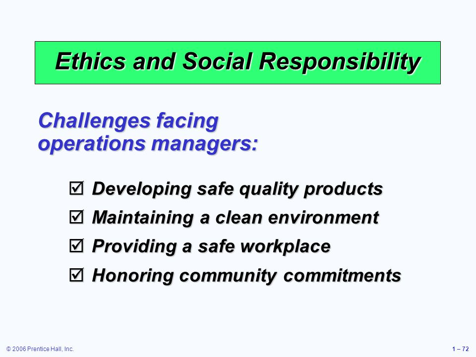 © 2006 Prentice Hall, Inc.1 – 72 Ethics and Social Responsibility Challenges facing operations managers: Developing safe quality products Developing safe quality products Maintaining a clean environment Maintaining a clean environment Providing a safe workplace Providing a safe workplace Honoring community commitments Honoring community commitments