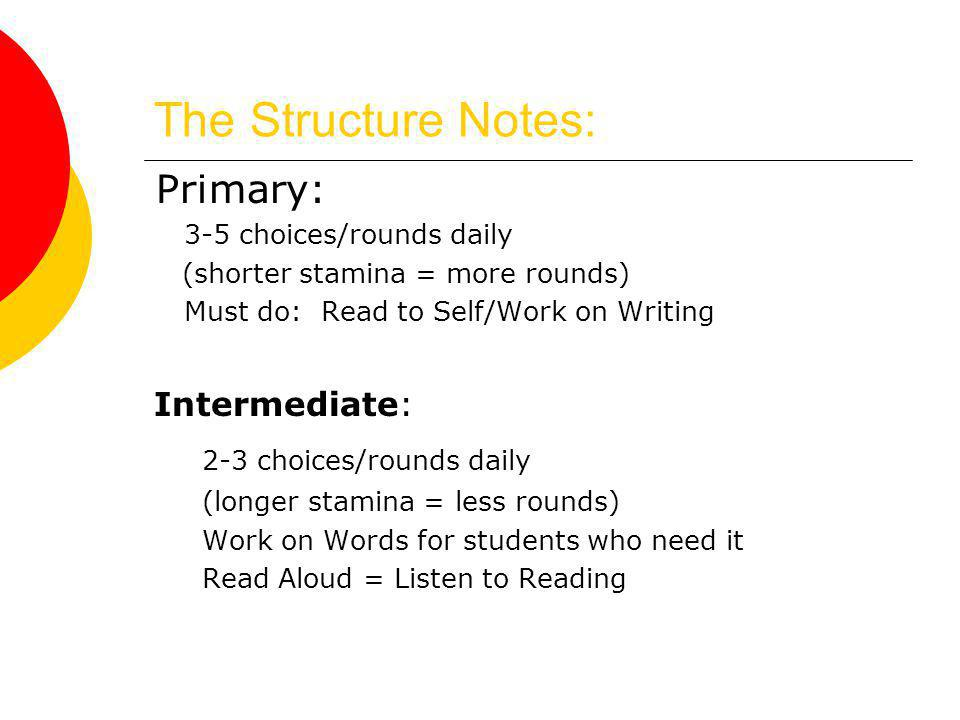 The Structure Notes: Primary: 3-5 choices/rounds daily (shorter stamina = more rounds) Must do: Read to Self/Work on Writing Intermediate: 2-3 choices