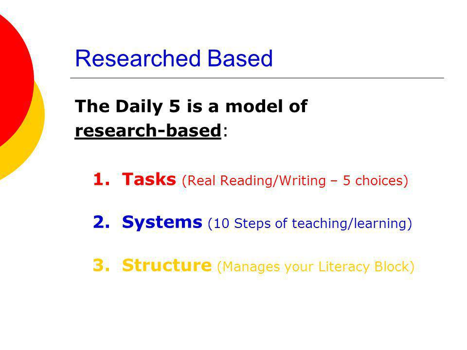 Researched Based The Daily 5 is a model of research-based: 1. Tasks (Real Reading/Writing – 5 choices) 2. Systems (10 Steps of teaching/learning) 3. S