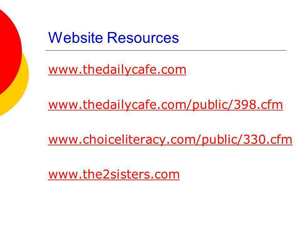 Website Resources www.thedailycafe.com www.thedailycafe.com/public/398.cfm www.choiceliteracy.com/public/330.cfm www.the2sisters.com