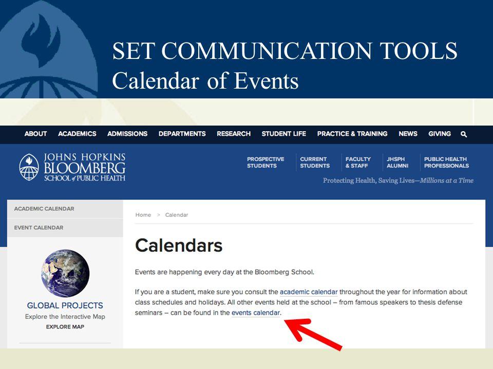 SET COMMUNICATION TOOLS Calendar of Events