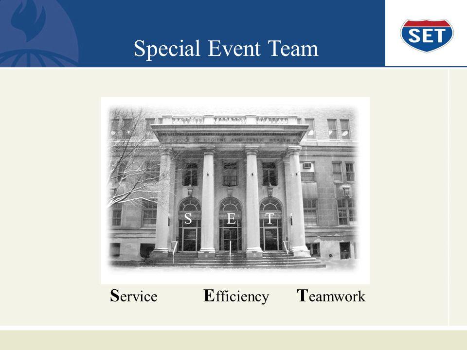 S ervice E fficiency T eamwork Special Event Team S E T