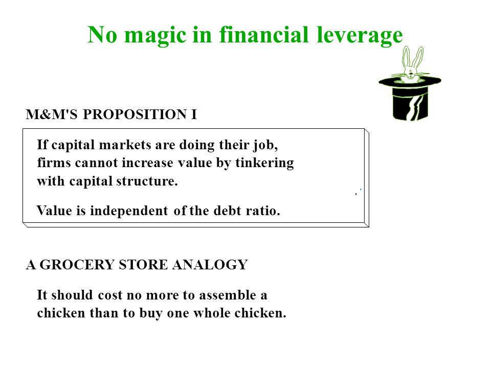 No magic in financial leverage M&M S PROPOSITION I If capital markets are doing their job, firms cannot increase value by tinkering with capital structure.