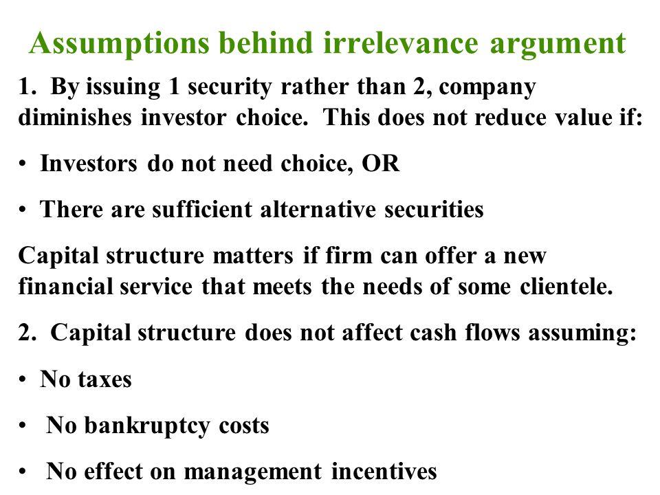 Assumptions behind irrelevance argument 1.