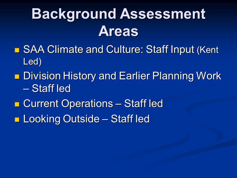 Background Assessment Areas SAA Climate and Culture: Staff Input (Kent Led) SAA Climate and Culture: Staff Input (Kent Led) Division History and Earlier Planning Work – Staff led Division History and Earlier Planning Work – Staff led Current Operations – Staff led Current Operations – Staff led Looking Outside – Staff led Looking Outside – Staff led