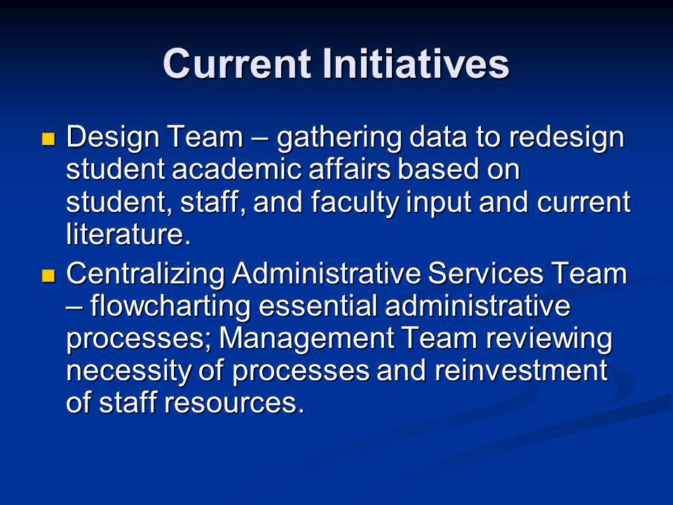 Current Initiatives Design Team – gathering data to redesign student academic affairs based on student, staff, and faculty input and current literature.