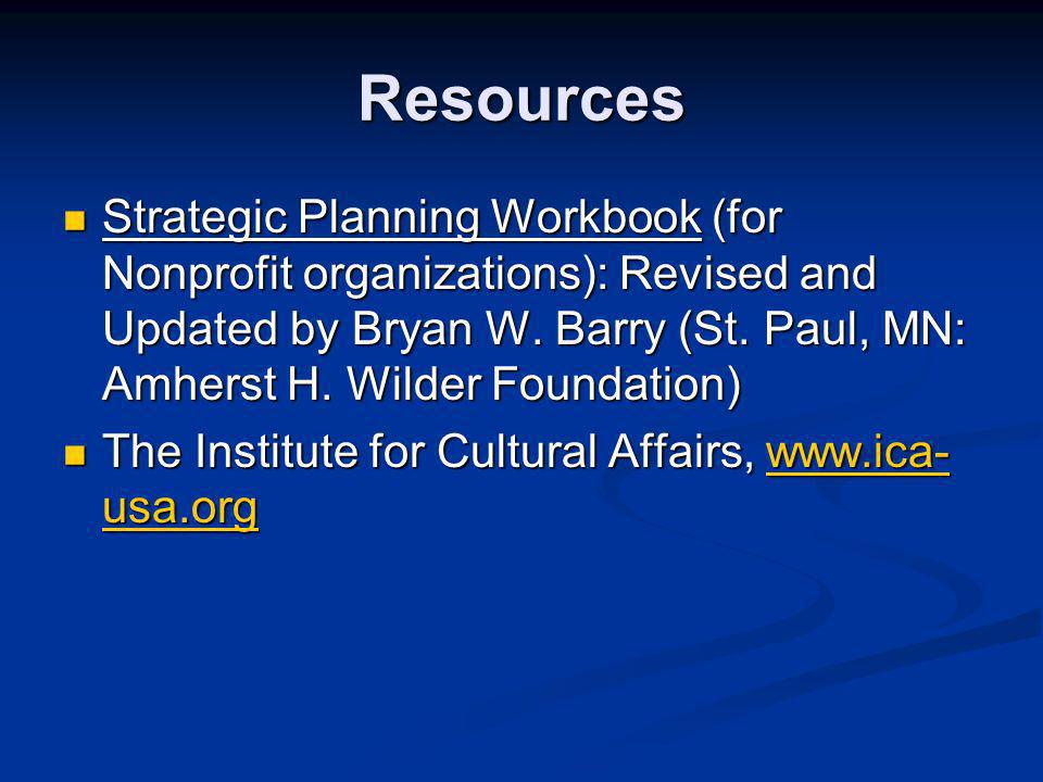 Resources Strategic Planning Workbook (for Nonprofit organizations): Revised and Updated by Bryan W.