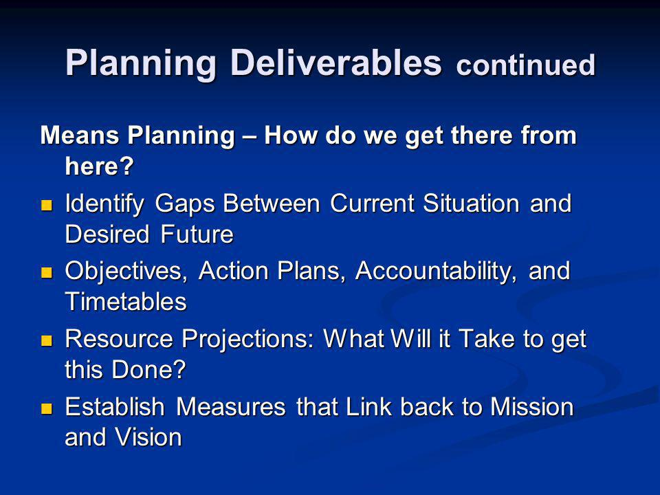 Planning Deliverables continued Implementation and Feedback – Monitor progress and adjust Making it Happen – and Making Changes as Needed Making it Happen – and Making Changes as Needed Regular Checks on Progress to Monitor and Make Adjustments Regular Checks on Progress to Monitor and Make Adjustments Plan as Working Tool (vs.