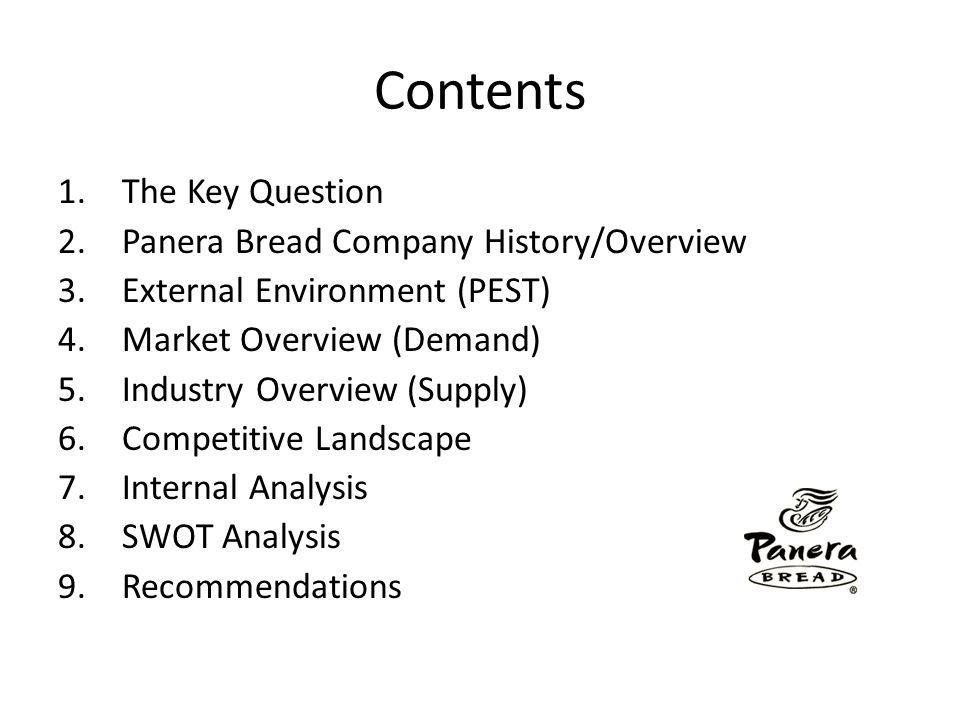 Contents 1.The Key Question 2.Panera Bread Company History/Overview 3.External Environment (PEST) 4.Market Overview (Demand) 5.Industry Overview (Supp
