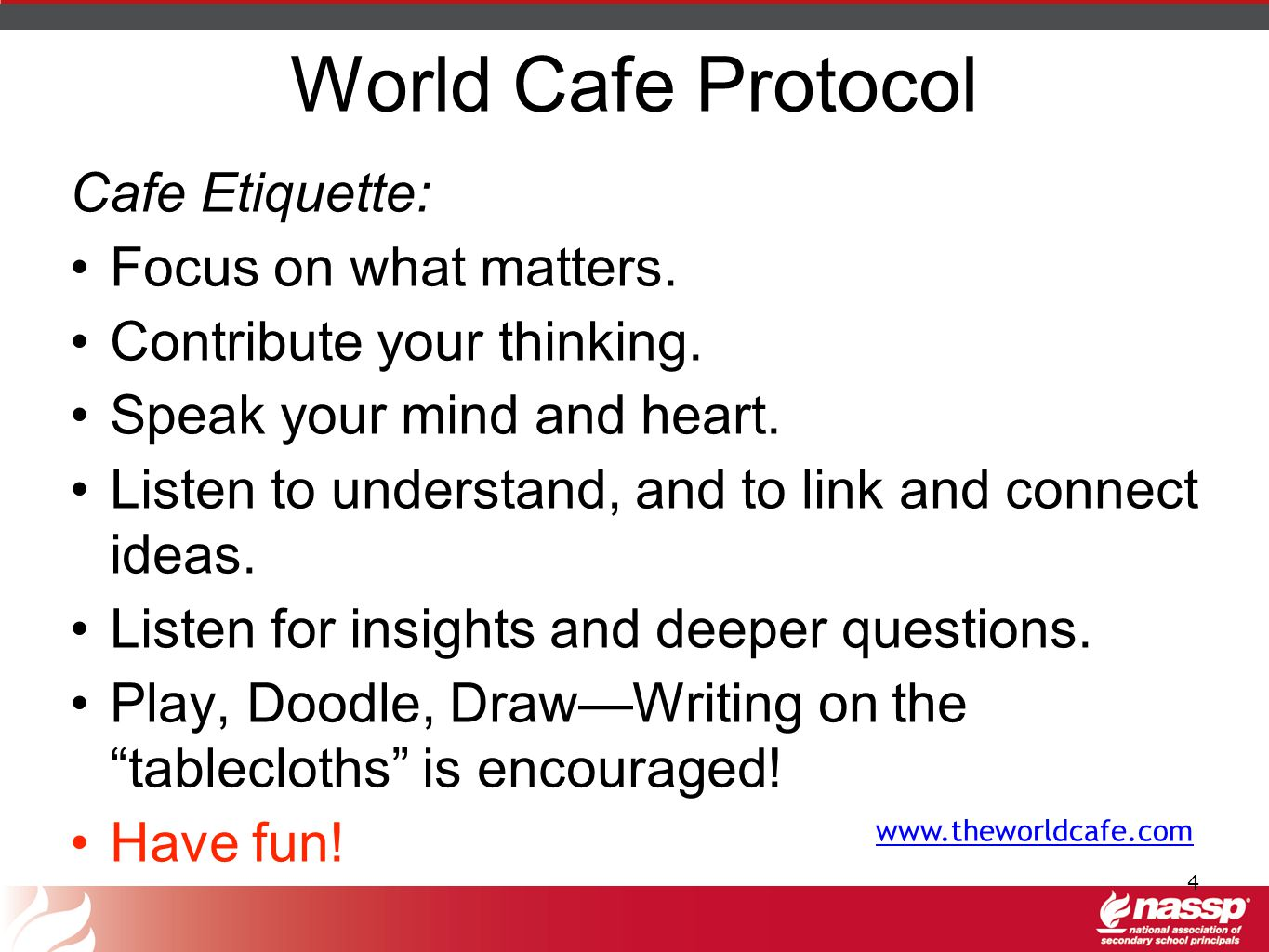 World Cafe Protocol Cafe Etiquette: Focus on what matters.