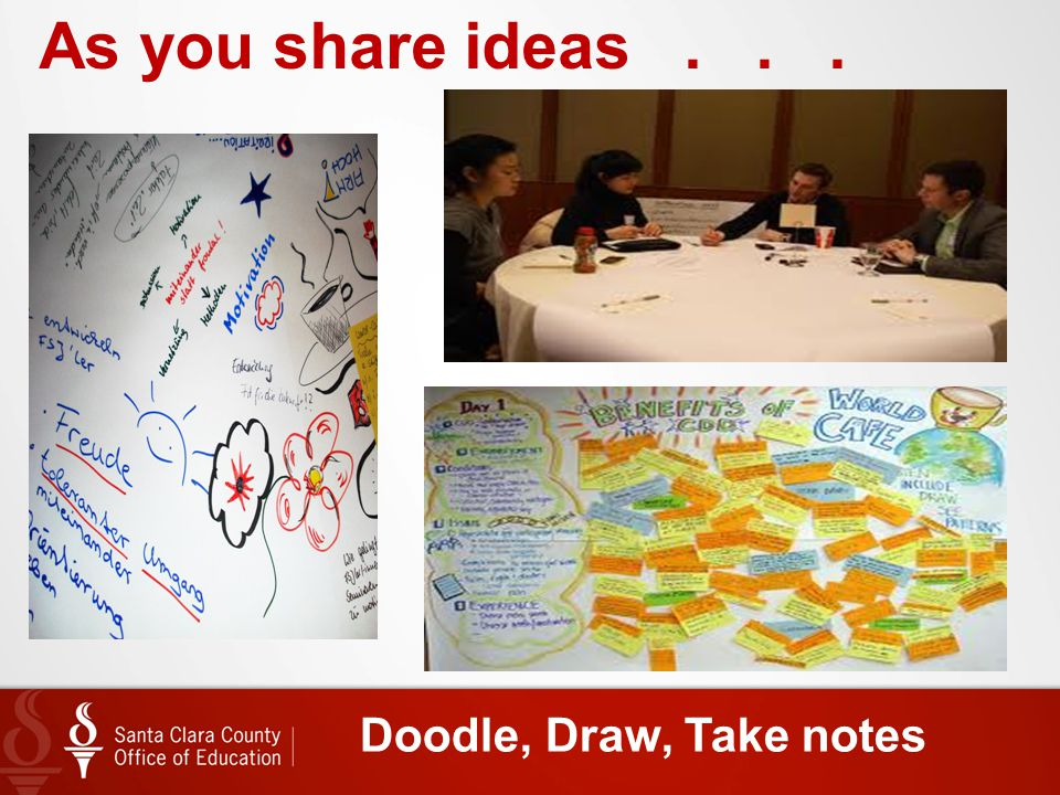 Doodle, Draw, Take notes As you share ideas...