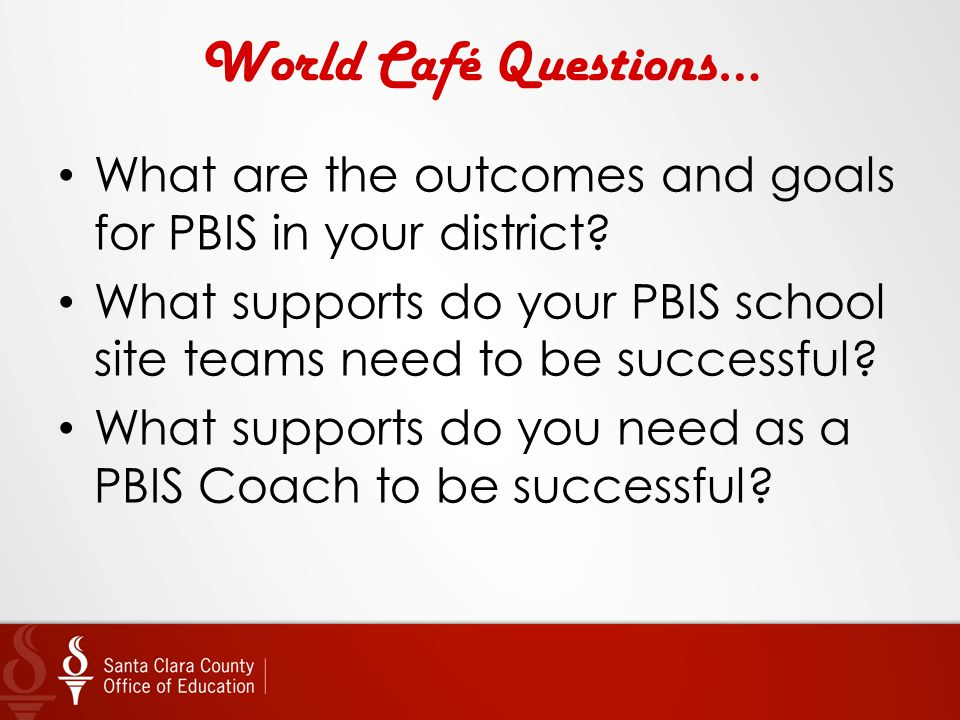 World Café Questions… What are the outcomes and goals for PBIS in your district? What supports do your PBIS school site teams need to be successful? W