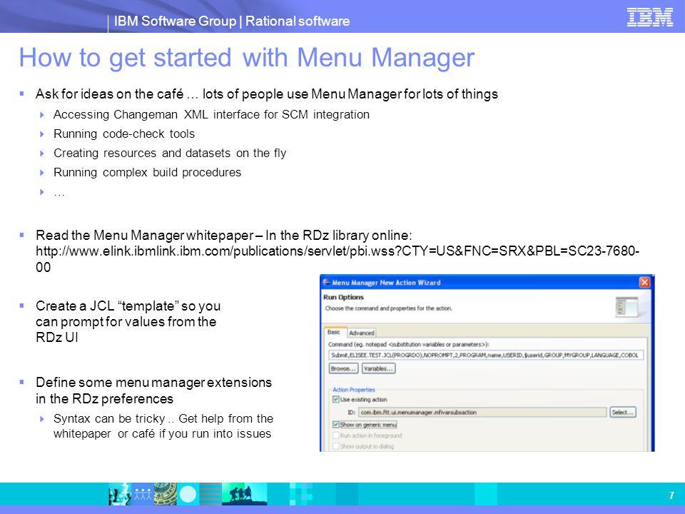 IBM Software Group   Rational software 8 Sample Menu Manager template