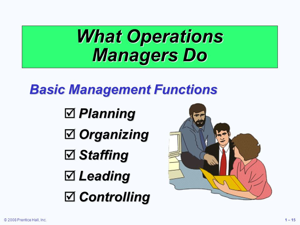 © 2008 Prentice Hall, Inc.1 – 15 What Operations Managers Do Planning Planning Organizing Organizing Staffing Staffing Leading Leading Controlling Controlling Basic Management Functions