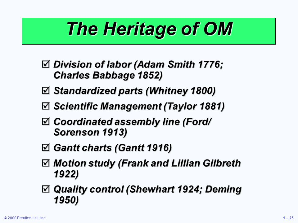 © 2008 Prentice Hall, Inc.1 – 25 The Heritage of OM Division of labor (Adam Smith 1776; Charles Babbage 1852) Division of labor (Adam Smith 1776; Charles Babbage 1852) Standardized parts (Whitney 1800) Standardized parts (Whitney 1800) Scientific Management (Taylor 1881) Scientific Management (Taylor 1881) Coordinated assembly line (Ford/ Sorenson 1913) Coordinated assembly line (Ford/ Sorenson 1913) Gantt charts (Gantt 1916) Gantt charts (Gantt 1916) Motion study (Frank and Lillian Gilbreth 1922) Motion study (Frank and Lillian Gilbreth 1922) Quality control (Shewhart 1924; Deming 1950) Quality control (Shewhart 1924; Deming 1950)