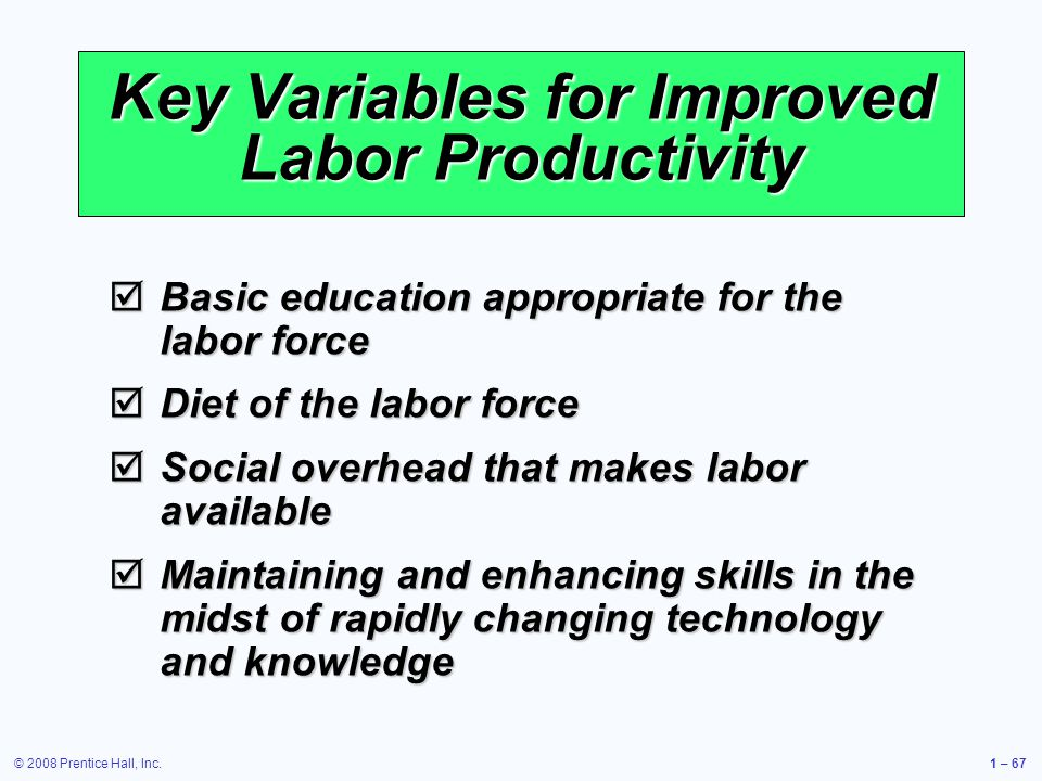 © 2008 Prentice Hall, Inc.1 – 67 Key Variables for Improved Labor Productivity Basic education appropriate for the labor force Basic education appropriate for the labor force Diet of the labor force Diet of the labor force Social overhead that makes labor available Social overhead that makes labor available Maintaining and enhancing skills in the midst of rapidly changing technology and knowledge Maintaining and enhancing skills in the midst of rapidly changing technology and knowledge