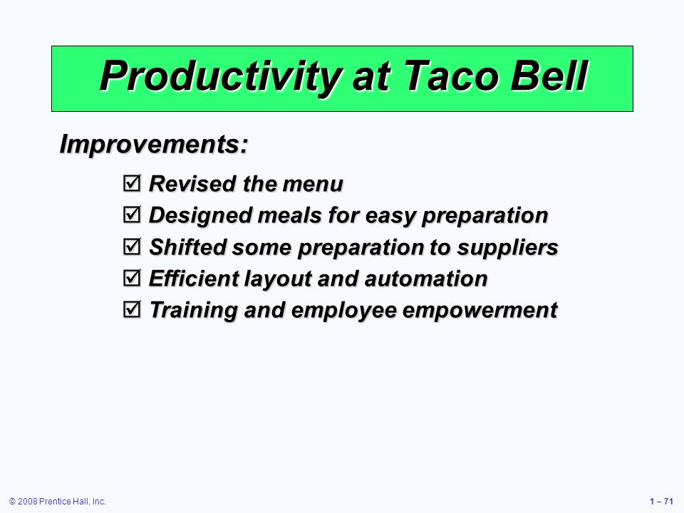 © 2008 Prentice Hall, Inc.1 – 71 Productivity at Taco Bell Improvements: Revised the menu Revised the menu Designed meals for easy preparation Designed meals for easy preparation Shifted some preparation to suppliers Shifted some preparation to suppliers Efficient layout and automation Efficient layout and automation Training and employee empowerment Training and employee empowerment