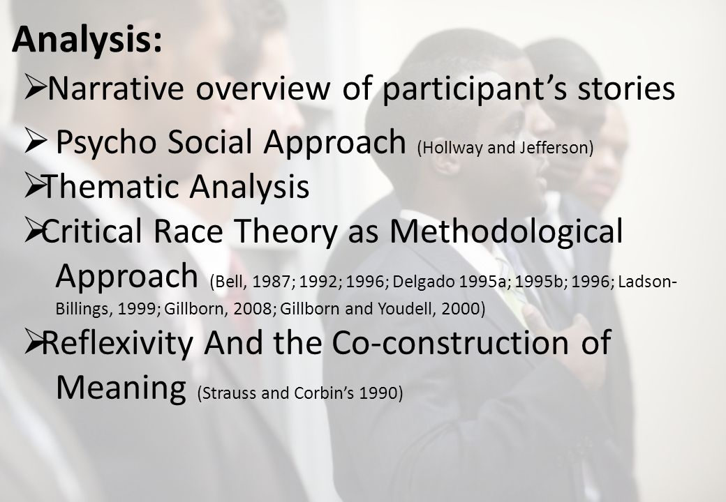 Analysis: Narrative overview of participants stories Psycho Social Approach (Hollway and Jefferson) Thematic Analysis Critical Race Theory as Methodological Approach (Bell, 1987; 1992; 1996; Delgado 1995a; 1995b; 1996; Ladson- Billings, 1999; Gillborn, 2008; Gillborn and Youdell, 2000) Reflexivity And the Co-construction of Meaning (Strauss and Corbins 1990)