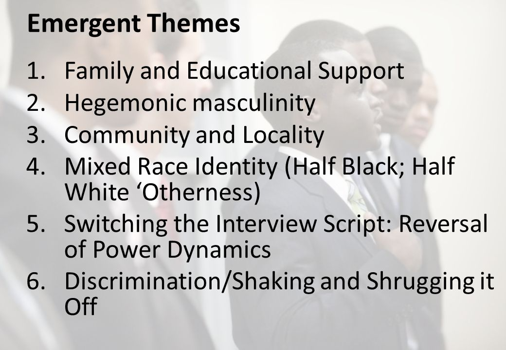 Emergent Themes 1.Family and Educational Support 2.Hegemonic masculinity 3.Community and Locality 4.Mixed Race Identity (Half Black; Half White Othern
