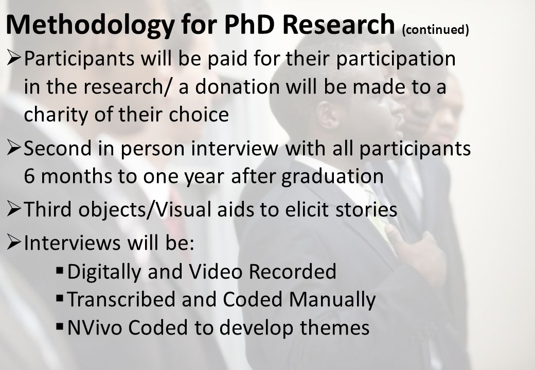 Methodology for PhD Research (continued) Participants will be paid for their participation in the research/ a donation will be made to a charity of their choice Second in person interview with all participants 6 months to one year after graduation Third objects/Visual aids to elicit stories Interviews will be: Digitally and Video Recorded Transcribed and Coded Manually NVivo Coded to develop themes