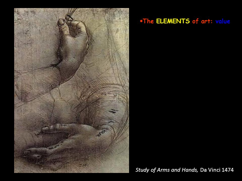 Study of Arms and Hands, Da Vinci 1474 The ELEMENTS of art: value