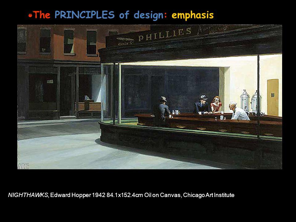 The PRINCIPLES of design: emphasis Or FOCUS in an artwork Edward Hopper American, 1882-1967 NIGHTHAWKS, Edward Hopper 1942 84.1x152.4cm Oil on Canvas,