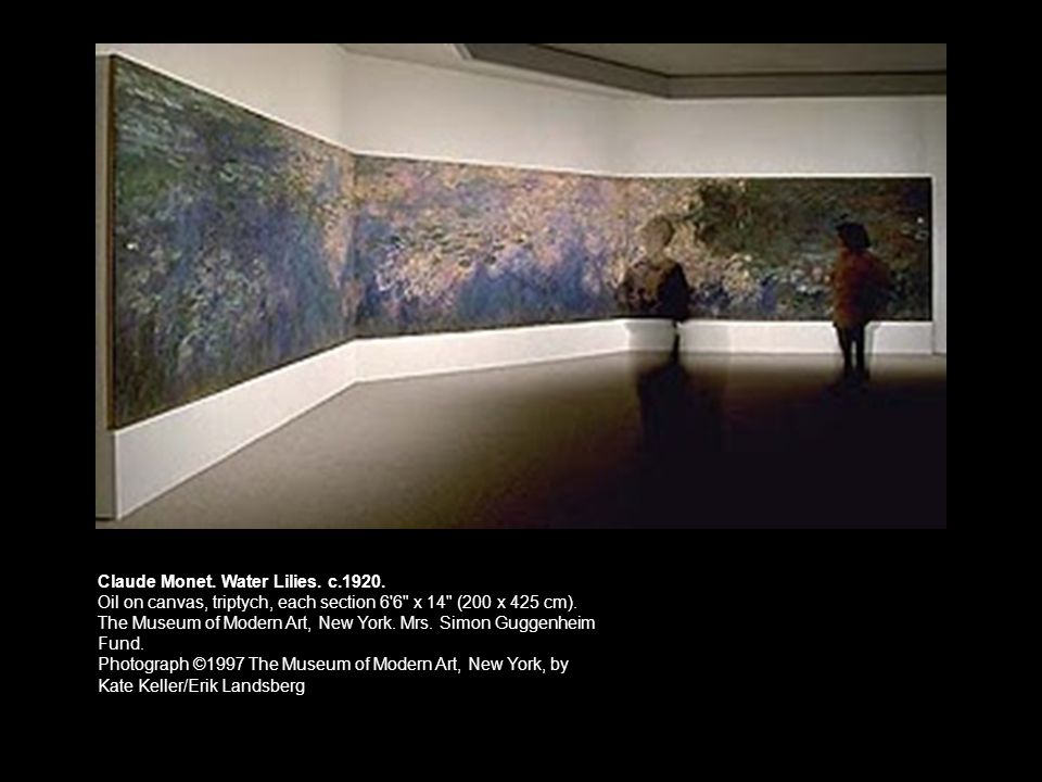 Claude Monet. Water Lilies. c.1920. Oil on canvas, triptych, each section 6'6