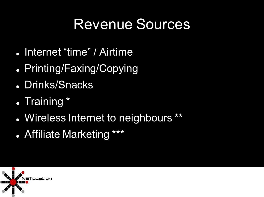 4 Revenue Sources Internet time / Airtime Printing/Faxing/Copying Drinks/Snacks Training * Wireless Internet to neighbours ** Affiliate Marketing ***
