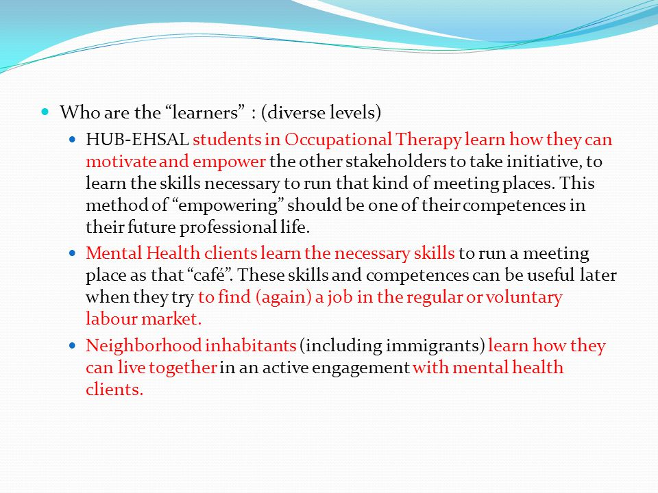 Who are the learners : (diverse levels) HUB-EHSAL students in Occupational Therapy learn how they can motivate and empower the other stakeholders to take initiative, to learn the skills necessary to run that kind of meeting places.