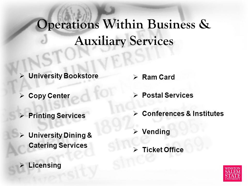 Operations Within Business & Auxiliary Services University Bookstore Copy Center Printing Services University Dining & Catering Services Licensing Ram