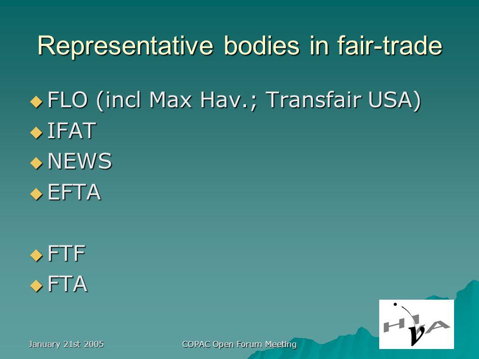 January 21st 2005 COPAC Open Forum Meeting Representative bodies in fair-trade FLO (incl Max Hav.; Transfair USA) FLO (incl Max Hav.; Transfair USA) IFAT IFAT NEWS NEWS EFTA EFTA FTF FTF FTA FTA