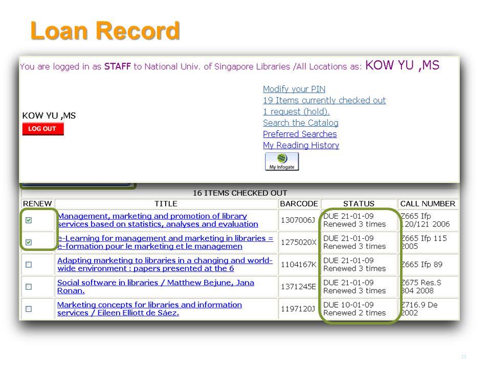 Loan Record 11