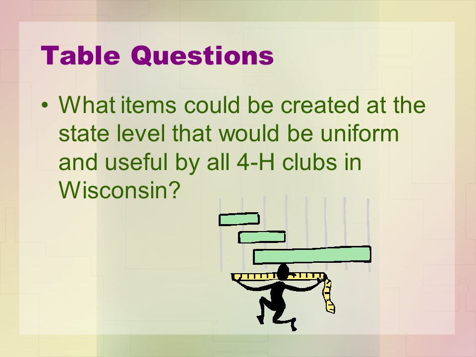 Table Questions What items could be created at the state level that would be uniform and useful by all 4-H clubs in Wisconsin